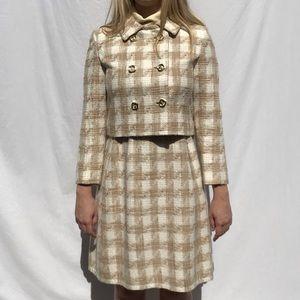 Vintage 60's Jackie Kennedy Houndstooth Suit Set